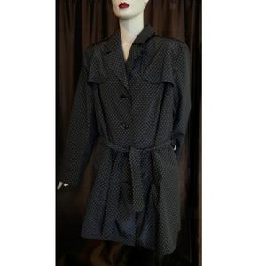 Black with White Polka Dots Trench-style Raincoat
